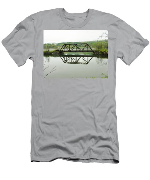 Men's T-Shirt (Slim Fit) featuring the photograph Vermont Steel Railroad Trestle On A Calm  Misty Morning by Sherman Perry