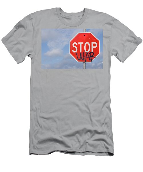 Men's T-Shirt (Slim Fit) featuring the photograph Stop War Sign by Charles Beeler