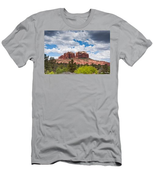 Storm Clouds Over Cathedral Rocks Men's T-Shirt (Slim Fit) by Jeff Goulden