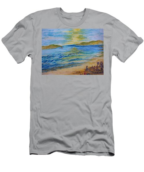 Men's T-Shirt (Slim Fit) featuring the painting Summer/ North Wales  by Teresa White