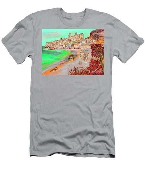 Men's T-Shirt (Slim Fit) featuring the painting Summertime In Cefalu' by Loredana Messina