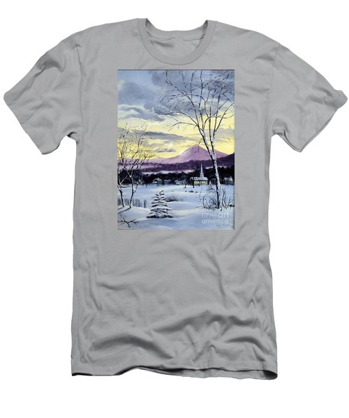 Men's T-Shirt (Slim Fit) featuring the painting Sunday In Winter by Lee Piper