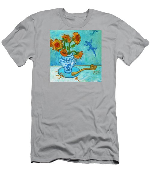 Men's T-Shirt (Athletic Fit) featuring the painting Sunflowers And Lizards by Xueling Zou