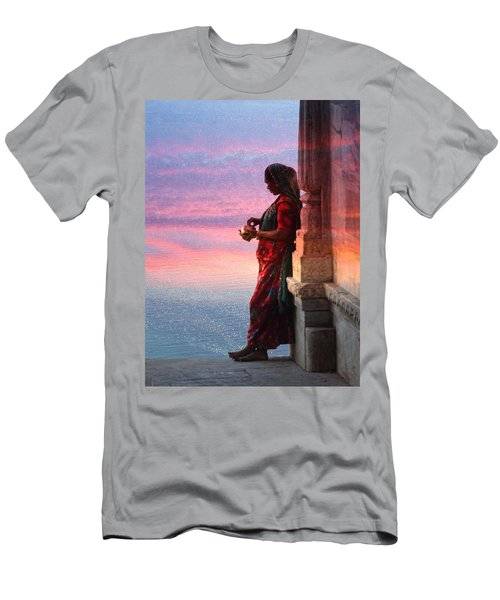 Sunset Lake Colorful Woman Rajasthani Udaipur India Men's T-Shirt (Athletic Fit)