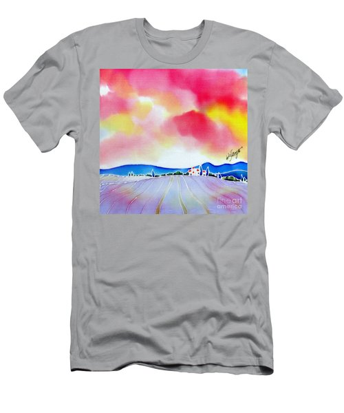 Sunset On The Lavender Farm  Men's T-Shirt (Athletic Fit)