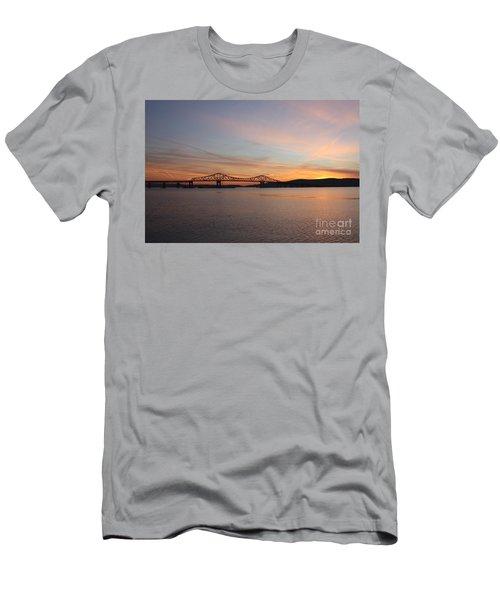 Sunset Over The Tappan Zee Bridge Men's T-Shirt (Slim Fit) by John Telfer