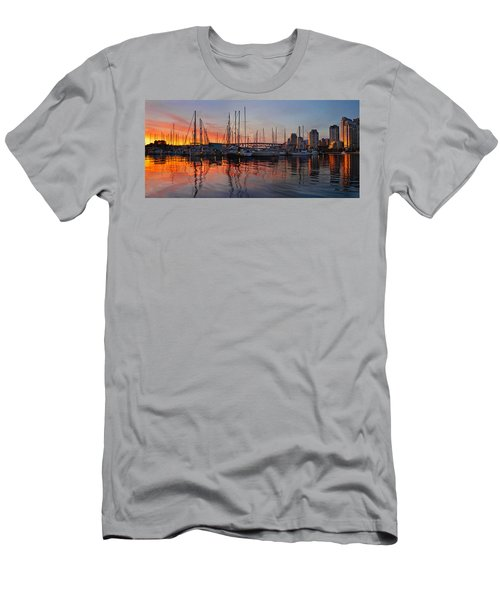 Men's T-Shirt (Slim Fit) featuring the photograph Sunset View From Charleson Park In Vancouver Bc by JPLDesigns