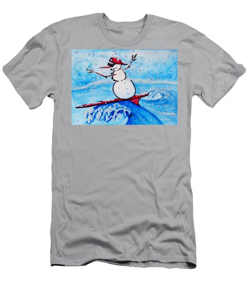 Surfing Snowman Men's T-Shirt (Athletic Fit)