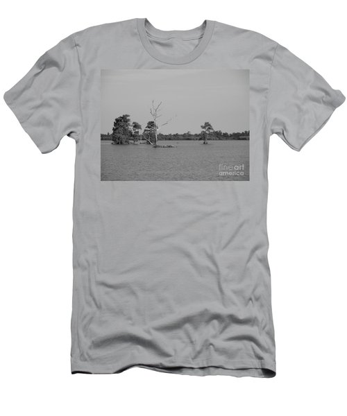 Men's T-Shirt (Slim Fit) featuring the photograph Swamp Cypress Trees Black And White by Joseph Baril