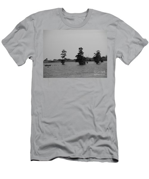 Men's T-Shirt (Slim Fit) featuring the photograph Swamp Tall Cypress Trees Black And White by Joseph Baril