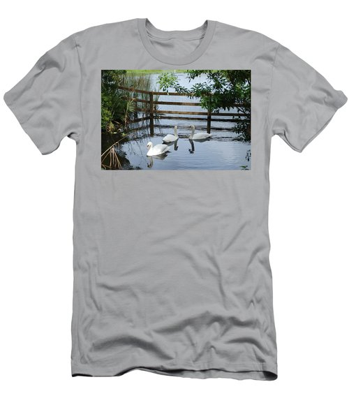 Swans In The Pond Men's T-Shirt (Slim Fit) by Beverly Stapleton