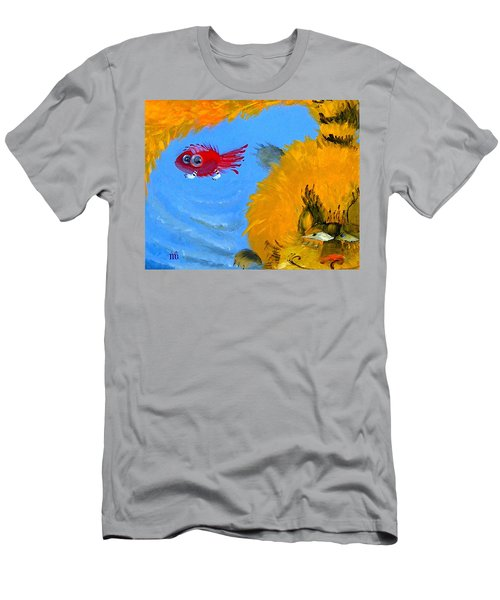 Swimming Of A Yellow Cat Men's T-Shirt (Athletic Fit)