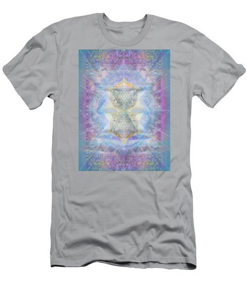 Synthecentered Doublestar Chalice In Blueaurayed Multivortexes On Tapestry Lg Men's T-Shirt (Athletic Fit)