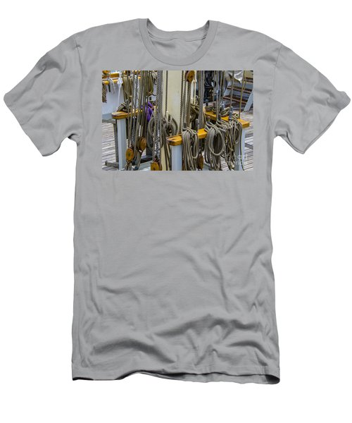 Tall Ship Lines And Blocks Men's T-Shirt (Slim Fit) by Dale Powell