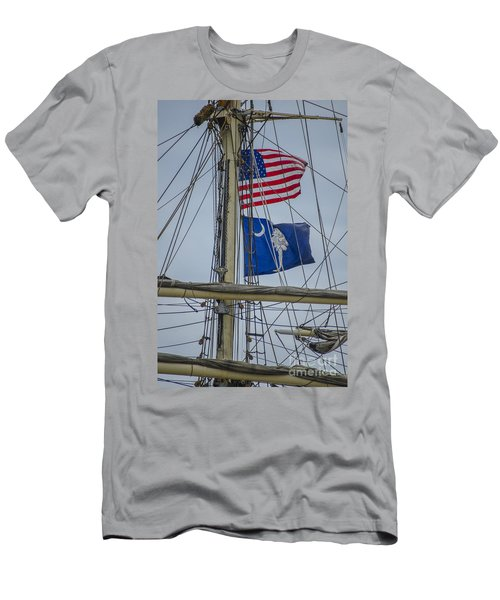 Men's T-Shirt (Slim Fit) featuring the photograph Tall Ships Flags by Dale Powell