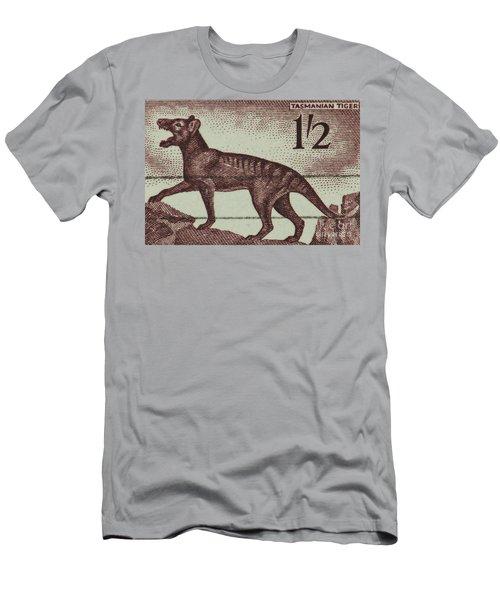 Tasmanian Tiger Vintage Postage Stamp Men's T-Shirt (Slim Fit) by Andy Prendy