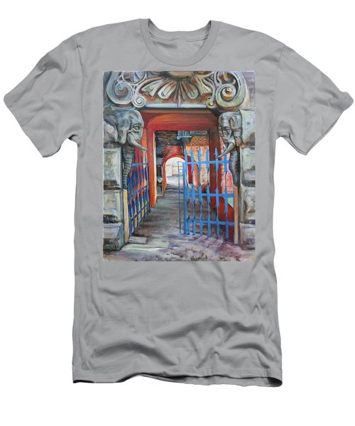 Men's T-Shirt (Slim Fit) featuring the painting The Blue Gate by Marina Gnetetsky