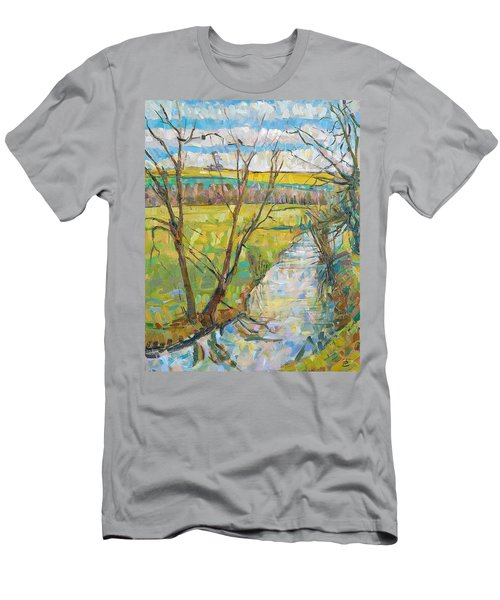 The Cherwell From Rousham II Oil On Canvas Men's T-Shirt (Athletic Fit)