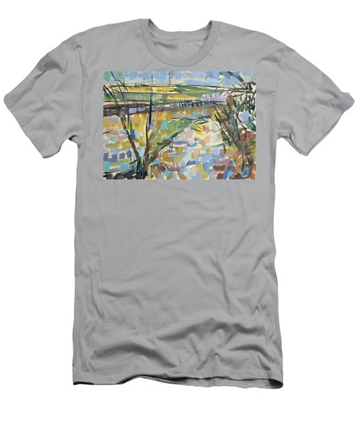 The Flooded Cherwell From Rousham I Oil On Canvas Men's T-Shirt (Athletic Fit)