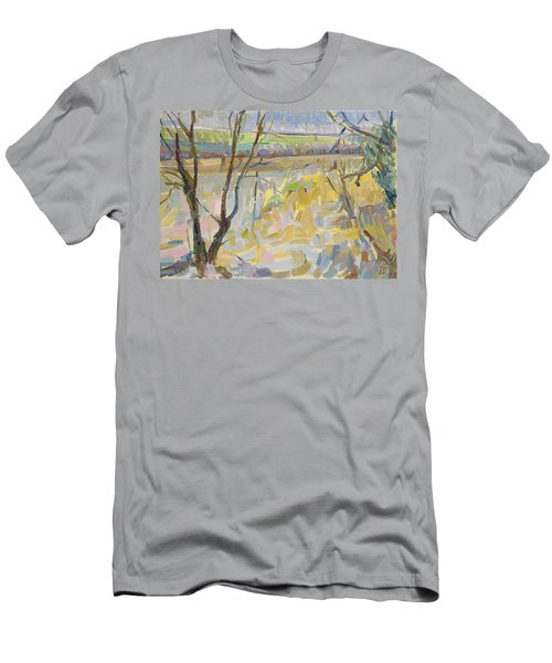 The Flooded Cherwell From Rousham II Oil On Canvas Men's T-Shirt (Athletic Fit)
