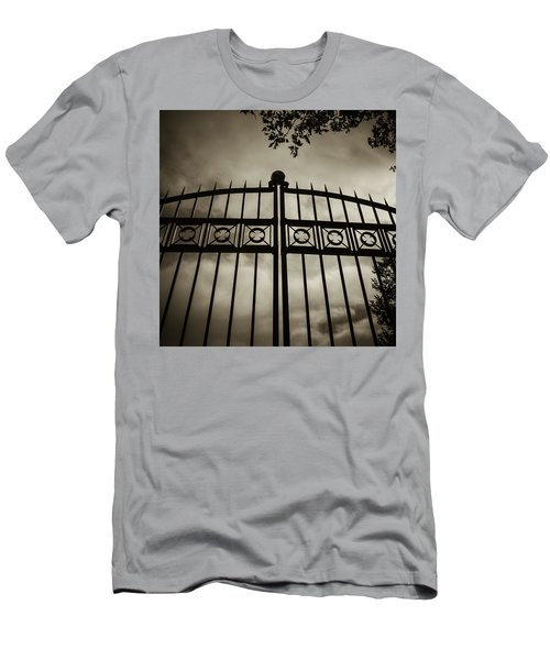 Men's T-Shirt (Slim Fit) featuring the photograph The Gate In Sepia by Steven Milner
