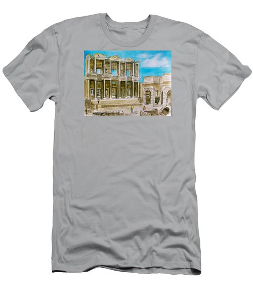The Library At Ephesus Turkey Men's T-Shirt (Slim Fit) by Frank Hunter