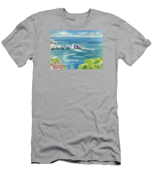 The Needles Isle Of Wight Men's T-Shirt (Slim Fit) by Geeta Biswas