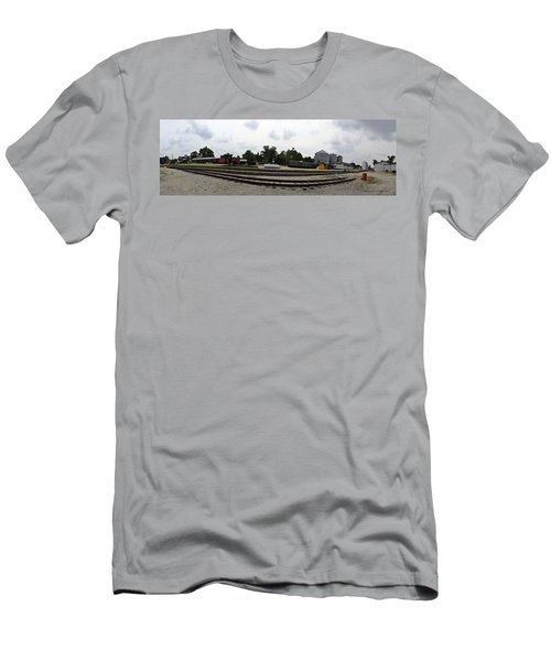 Men's T-Shirt (Slim Fit) featuring the photograph The Railroad From The Series View Of An Old Railroad by Verana Stark
