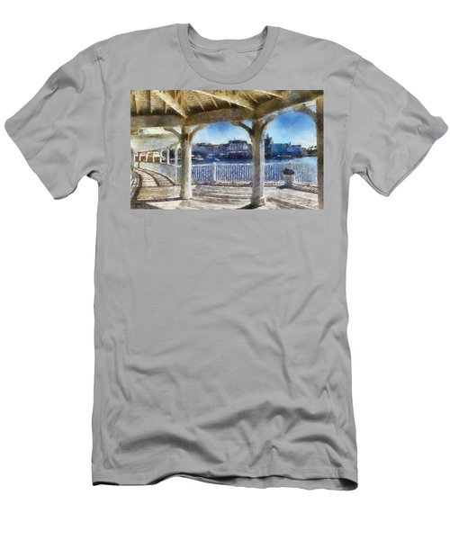 The View From The Boardwalk Gazebo Wdw 02 Photo Art Men's T-Shirt (Slim Fit) by Thomas Woolworth