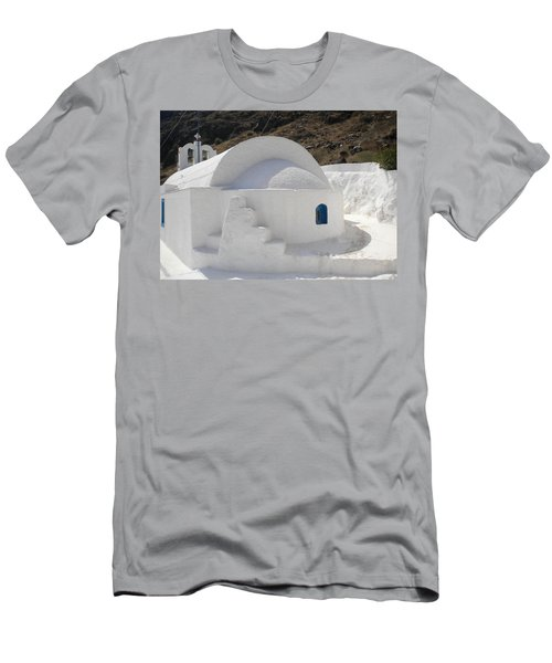 Men's T-Shirt (Slim Fit) featuring the photograph Thirasia Church Santorini Greece by Colette V Hera  Guggenheim