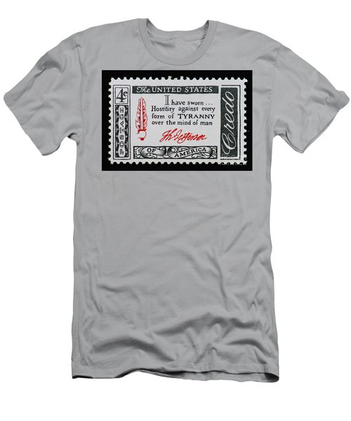 Thomas Jefferson American Credo Vintage Postage Stamp Print Men's T-Shirt (Athletic Fit)