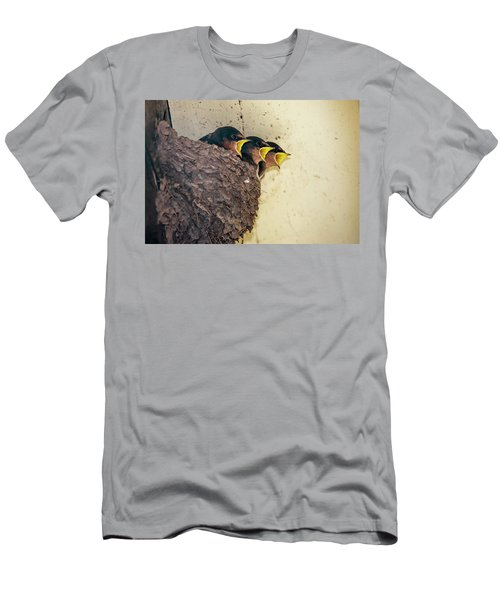 Three Baby Birds In A Nest Calling Men's T-Shirt (Athletic Fit)