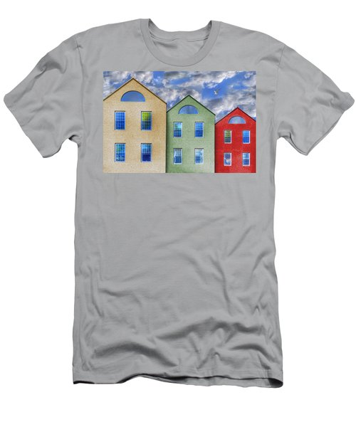 Three Buildings And A Bird Men's T-Shirt (Slim Fit) by Paul Wear