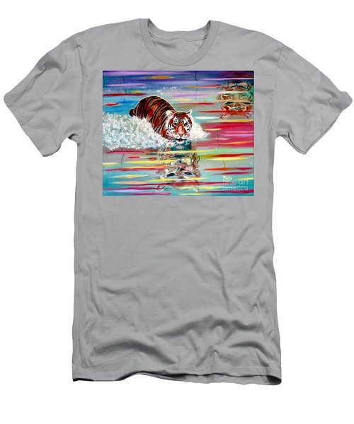 Men's T-Shirt (Slim Fit) featuring the painting Tigers Crossing by Phyllis Kaltenbach