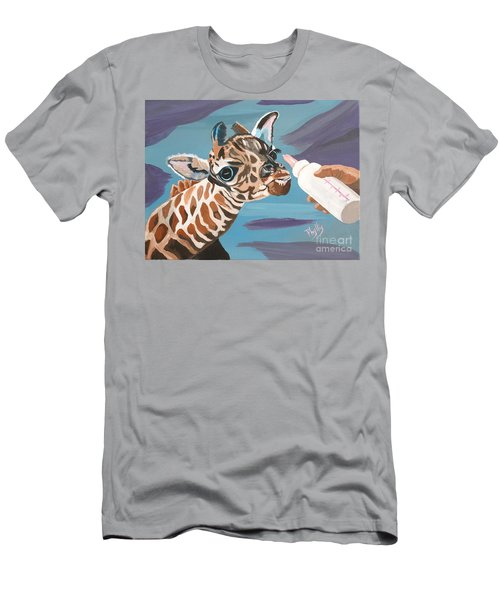 Tiny Baby Giraffe With Bottle Men's T-Shirt (Slim Fit) by Phyllis Kaltenbach