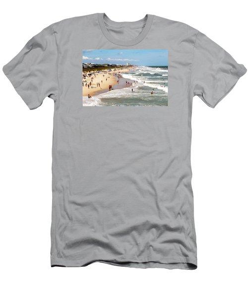 Tourist At Kure Beach Men's T-Shirt (Slim Fit) by Cynthia Guinn