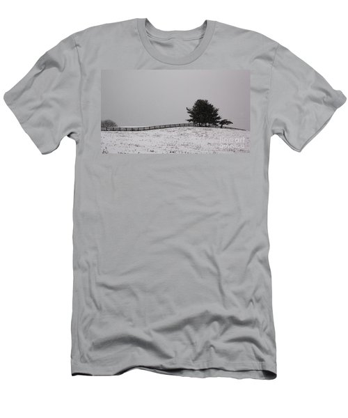 Tree And Fence In Snow Storm Men's T-Shirt (Athletic Fit)
