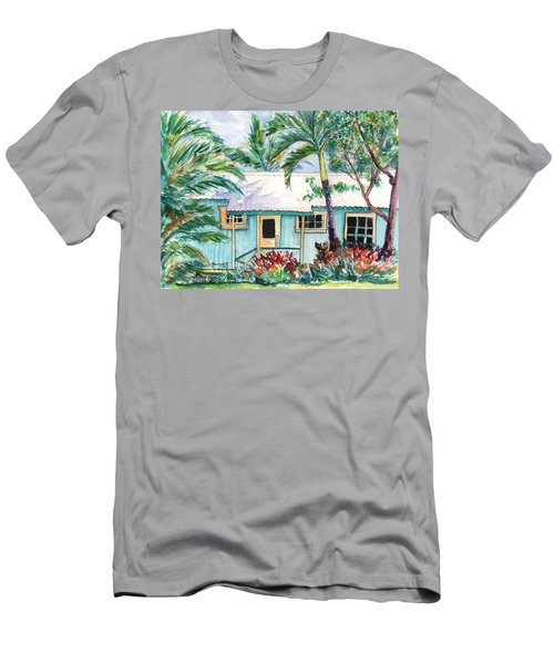 Men's T-Shirt (Slim Fit) featuring the painting Tropical Vacation Cottage by Marionette Taboniar