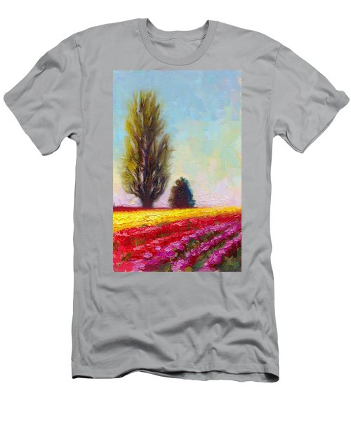 Men's T-Shirt (Athletic Fit) featuring the painting Tulip Sentinels by Talya Johnson