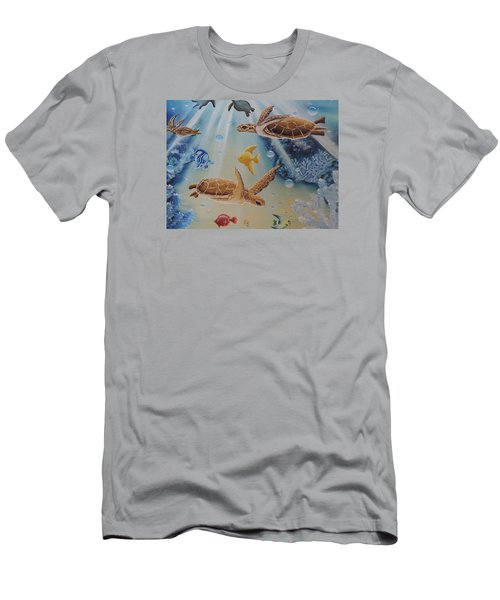 Turtles At Sea #2 Men's T-Shirt (Slim Fit) by Dianna Lewis