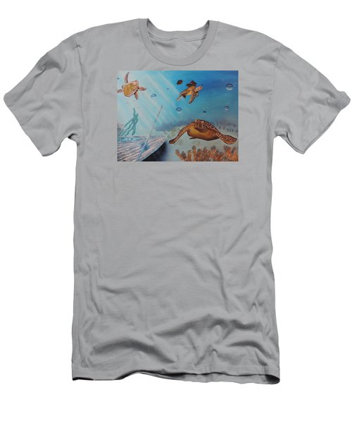 Turtles At Sea Men's T-Shirt (Slim Fit) by Dianna Lewis