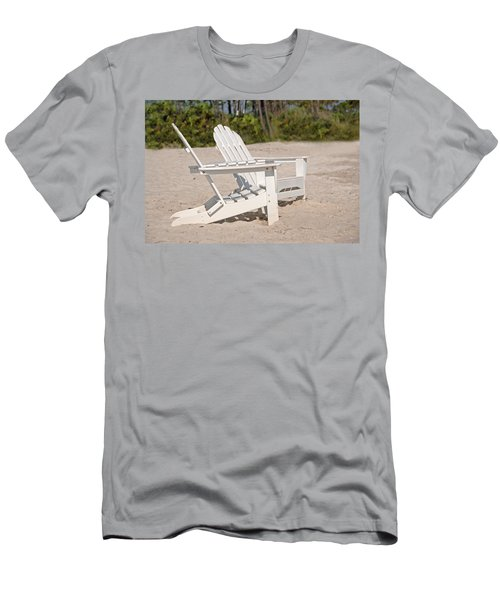 Men's T-Shirt (Slim Fit) featuring the photograph Two Beach Chairs by Charles Beeler