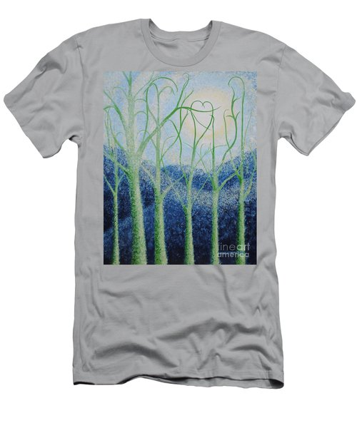 Men's T-Shirt (Slim Fit) featuring the painting Two Hearts by Holly Carmichael