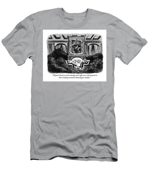 Two Men Sit Next To A Fireplace With Large Piles Men's T-Shirt (Athletic Fit)