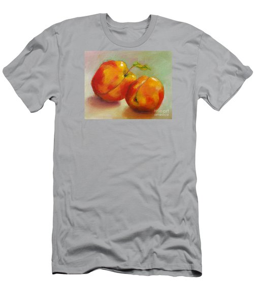 Men's T-Shirt (Slim Fit) featuring the painting Two Peaches by Michelle Abrams