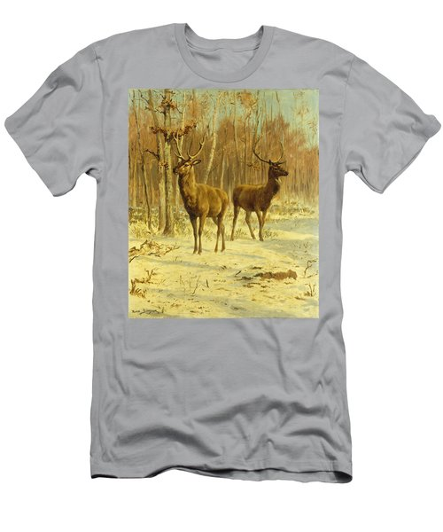 Two Stags In A Clearing In Winter Men's T-Shirt (Athletic Fit)