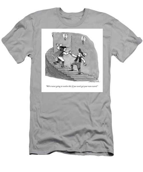 Two Swordfighters On A Staircase Grasp The Handle Men's T-Shirt (Athletic Fit)