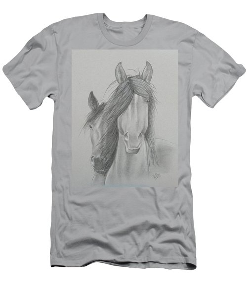 Two Wild Horses Men's T-Shirt (Athletic Fit)