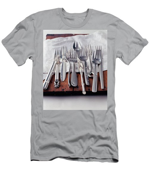 Various Forks On A Wooden Board Men's T-Shirt (Athletic Fit)