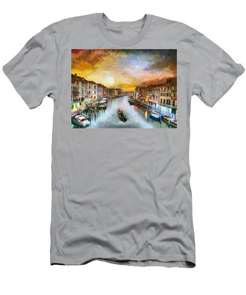 Men's T-Shirt (Slim Fit) featuring the painting Sunrise In The Beautiful Charming Venice by Georgi Dimitrov